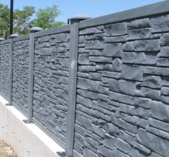 Vinyl Rockwall Fence Installation